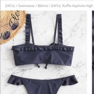 NWT Zaful Blue High Leg Bikini